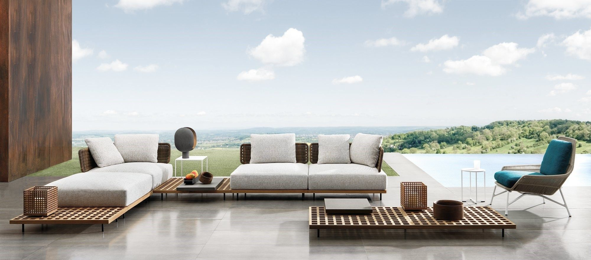 Brazilian architect marcio kogan developed quadrado the new outdoor seatings collection for minotti inspired by the japanese metabolist architecture of the