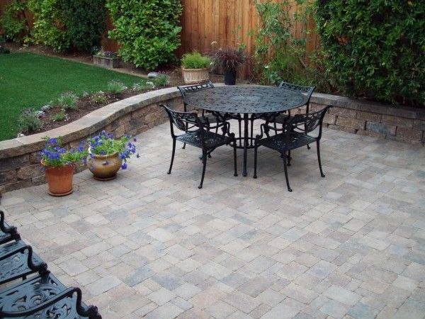 Paving Exquisite Covering Concrete Patio With Pavers And Wooden Garden  Fencing Ideas Also Cast Iron Outdoor Furniture In Black Paint Finishes  Alongside ...