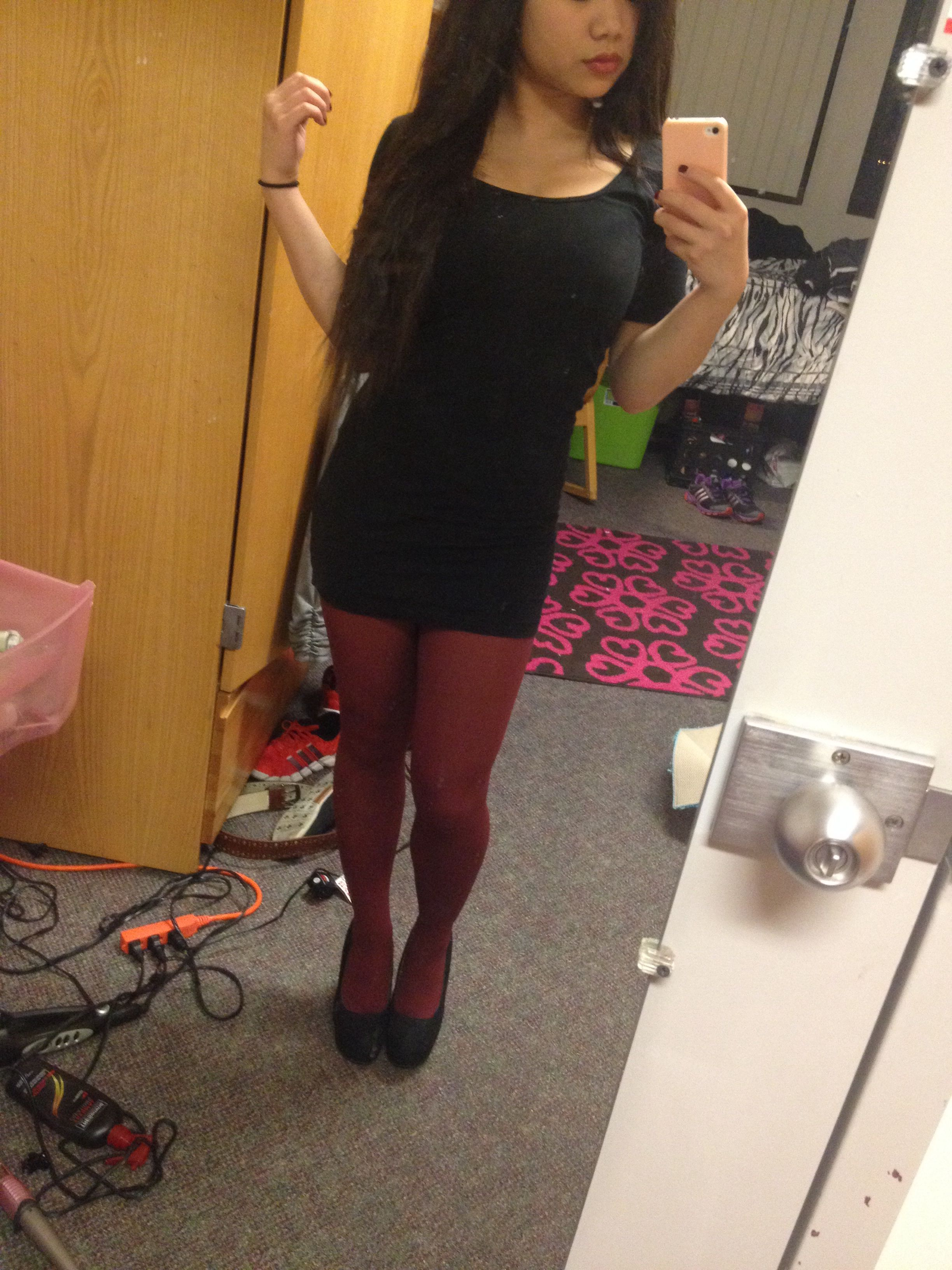 Burgundy Tights And Right Black Dress With Wedges Burgundy Tights Dresses With Wedges Black Dress With Wedges [ 3264 x 2448 Pixel ]