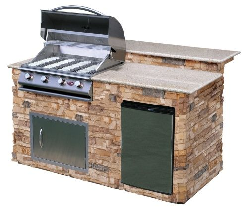 Shop Cal Flame 6 Ft Bbq Island With Granite Top Gas Grill Autumn Pro Fit Stone Outdoor Kitchen Kitchen Island Lighting Home Depot Grill Island Stone Bbq