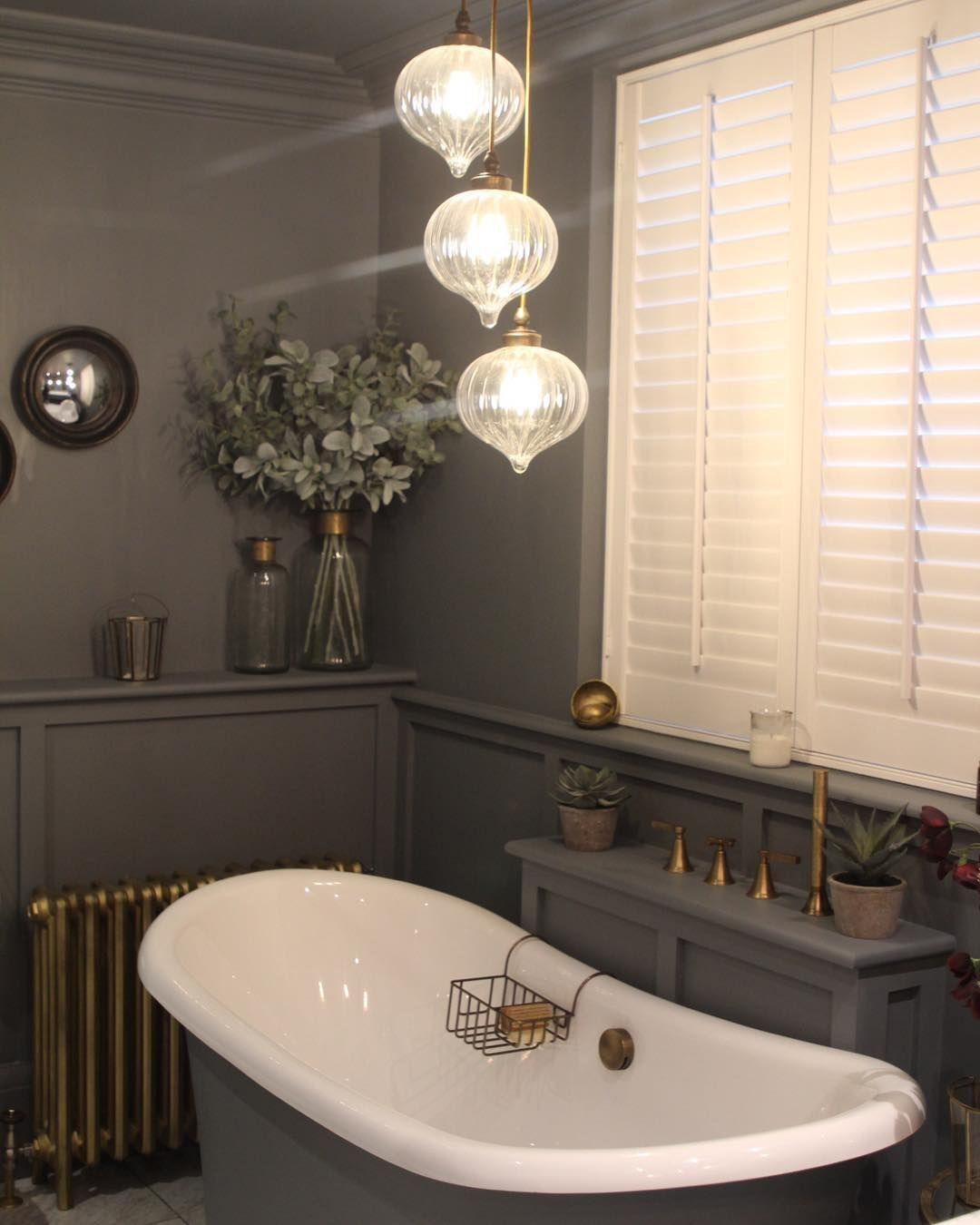 Or Pendant Lights Above Bath Like This Would We Then Have Wall Lights Attached To The Wall On Either Side Of The Mi House Styles Bathroom Decor Light Fittings