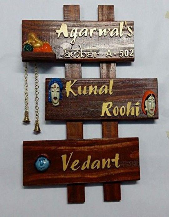 Karigaari India Family Name Plate Customizable Name Plates For Home Name Plate Design Wooden Name Plates
