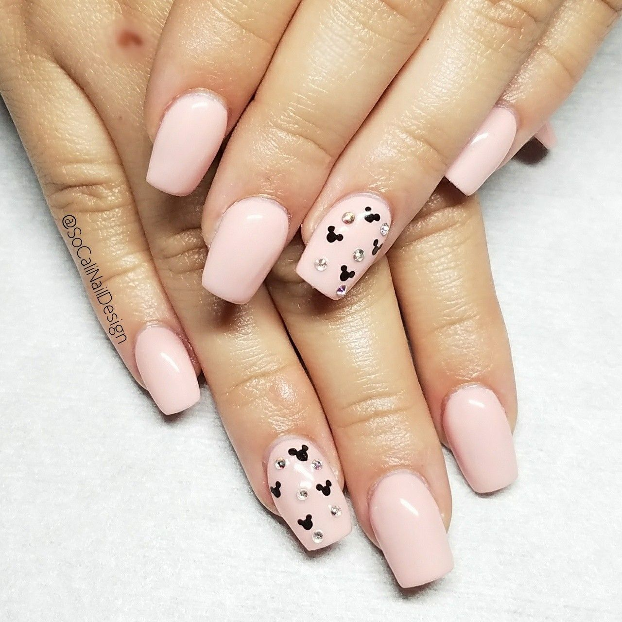 Acrylic full set and Pink Disney nail for her trip to the Happiest ...