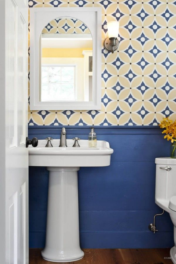 Wallpaper For The Powder Room Yellow Bathroom Decor Yellow Bathrooms Blue Bathroom Decor