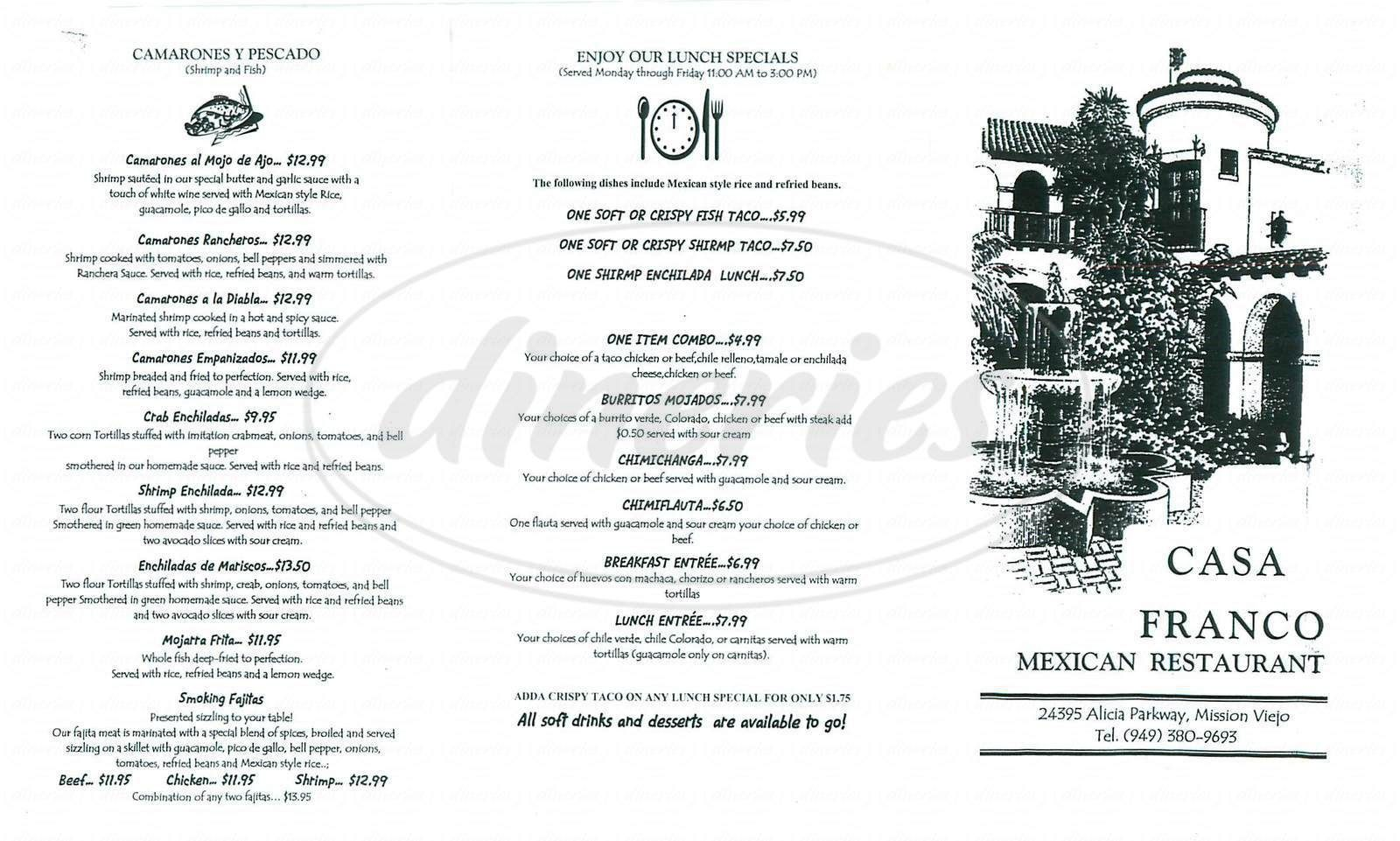 menu for Casa Franco Menu, Mission viejo, Franco
