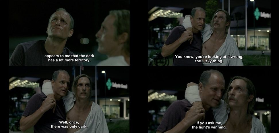 The Light is Winning - Rustin Cohle and Marty Hart from the True Detective Final Scene