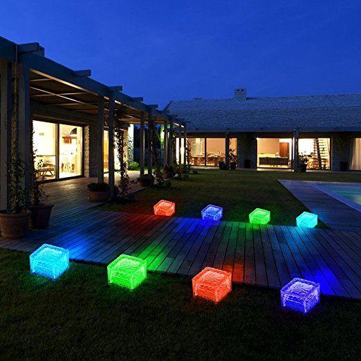 Beleuchtung garten solar  8er Set RGB LED Solar Lampen Eis Würfel Balkon Außen Beleuchtung ...
