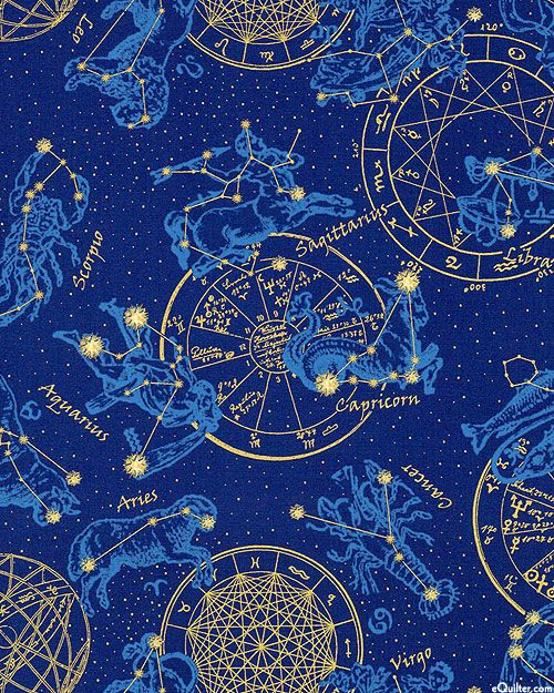 Celestial Horoscope Star Chart Midnight Bluegold Fabulous