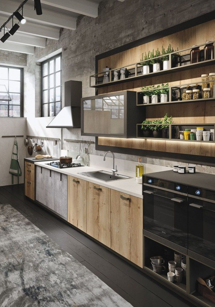 Industrial Style Kitchen, Industrial Interior Design, Kitchen Wood,  Industrial Tv Unit, Kitchen