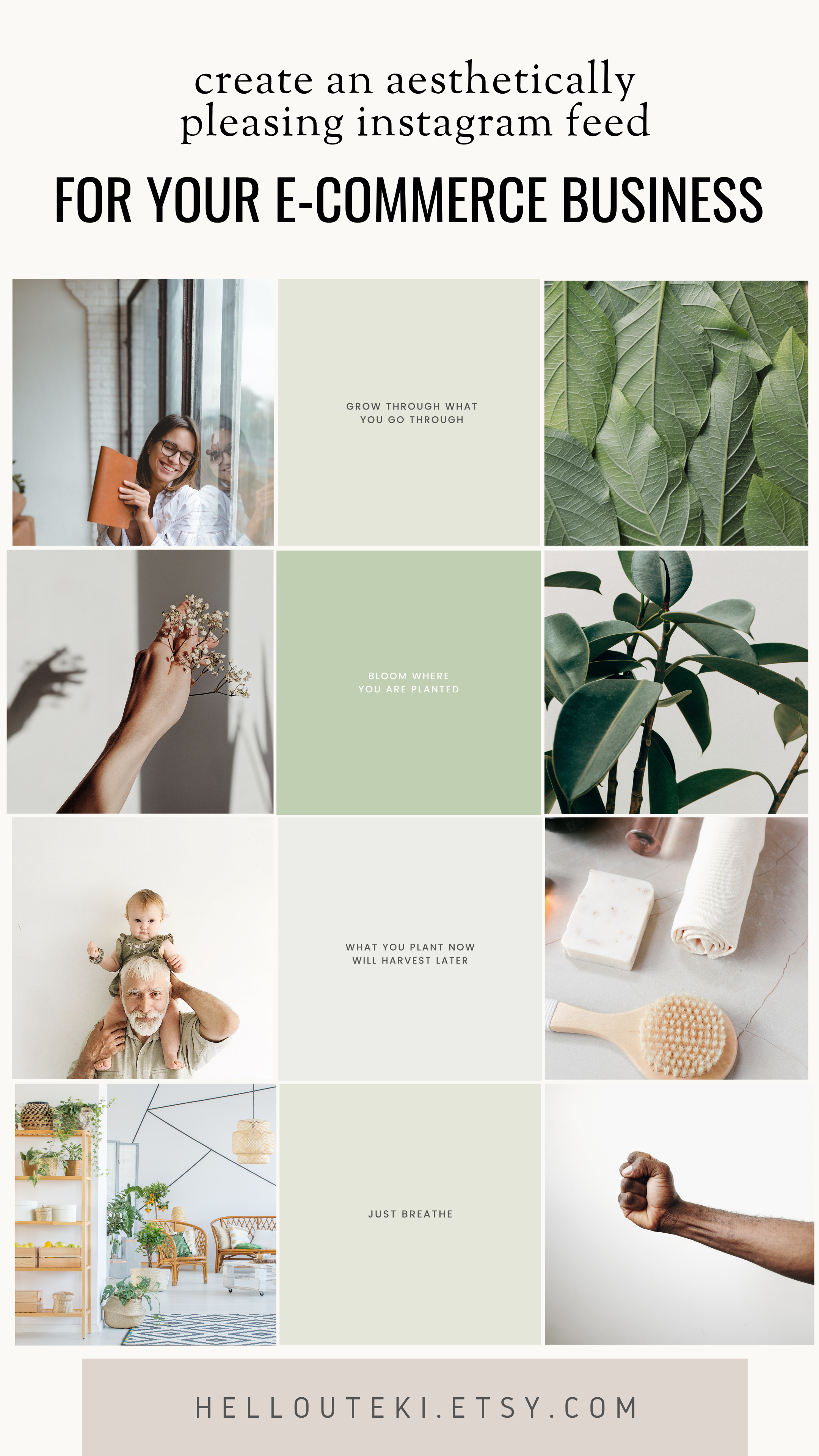 This E-commerce Instagram Kit is perfect if you want to build an aesthetically pleasing Instagram profile. For plant, nature lovers! A captivating instagram profile is one of the most important thing to build your community. We are here to help you get started! #instagramfeed #instagramkit #instagramfeedideas #instagramtemplates #minimalistfeed #plants #plantlover #plantmama #naturelover #gaialover