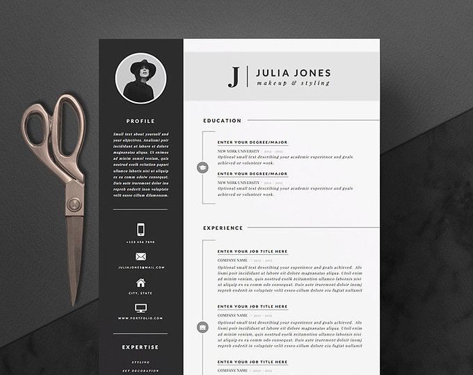 Modern Resume Template   Cover Letter  Icon Set for