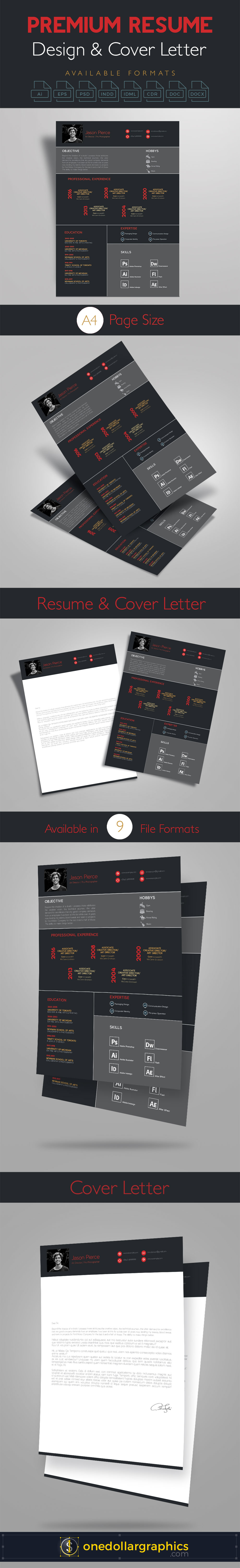 cover letter sample for job application for freshers%0A Premium Resume  CV  Design  Cover Letter Template    PSD MockUps