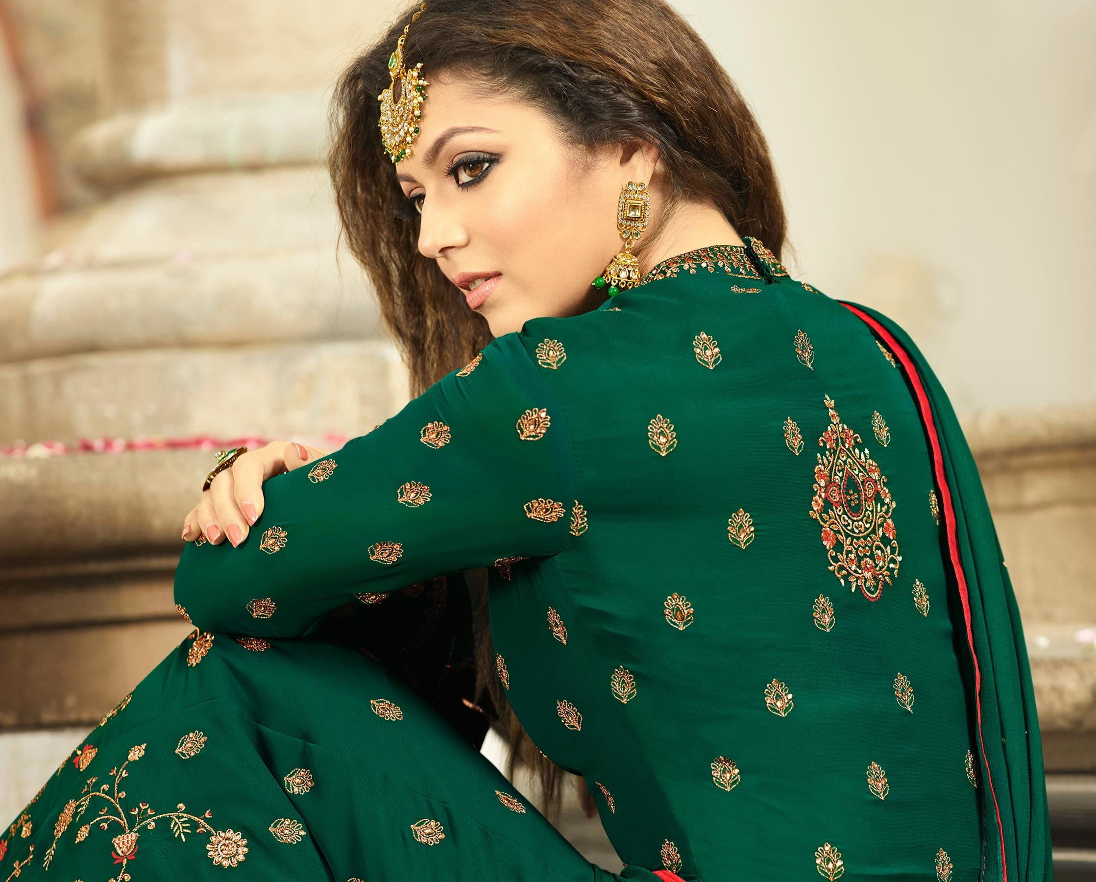 Buy attractive green colored designer embroidered partywear