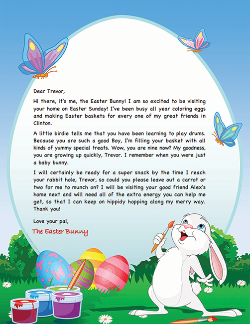 Easter Bunny Letter Template  Easter Bunny Letters