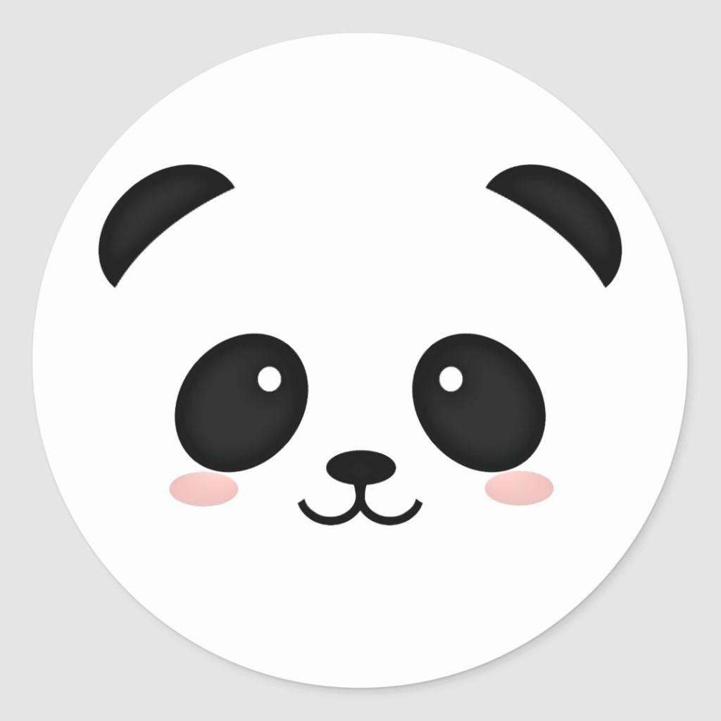 Cute Panda Bear Face Kawaii Style Classic Round Sticker Zazzle