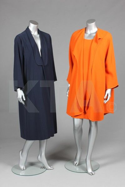 Jean Muir coats and jackets, late 1970s-early 1980s, labelled, the first of fuchsia suede with floral cutwork, chest 40in, 102cm, with an image of Miss Lumley wearing it on the Private Lives tour in 1981; a navy gabardine swing coat with curved lapels and wide sleeves, chest 127cm, 50in; an orange moss-crêpe shift dress and matching coat, labelled, the coat with curved lapels and front closure, chest 97cm, 38in, with a picture of Miss Lumley wearing the coat; a navy crêpe jacket, with…