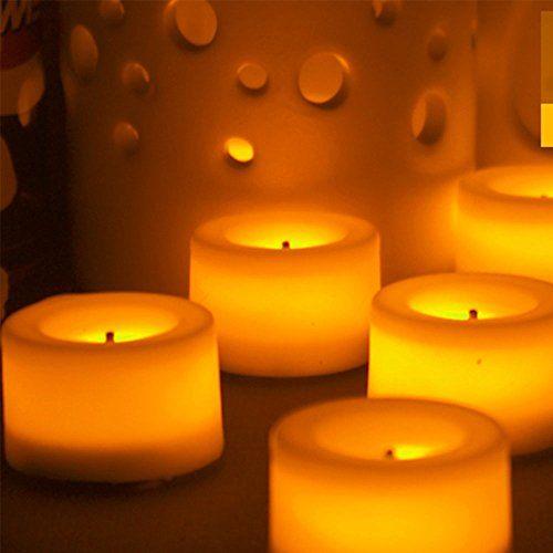 "Decorative LED Flickering Flameless Candles Set Tea light Holders Fall Decor Halloween Christmas Decorations Gift (1.37"" D x 0.78""H (3.5 cm x2cm))"