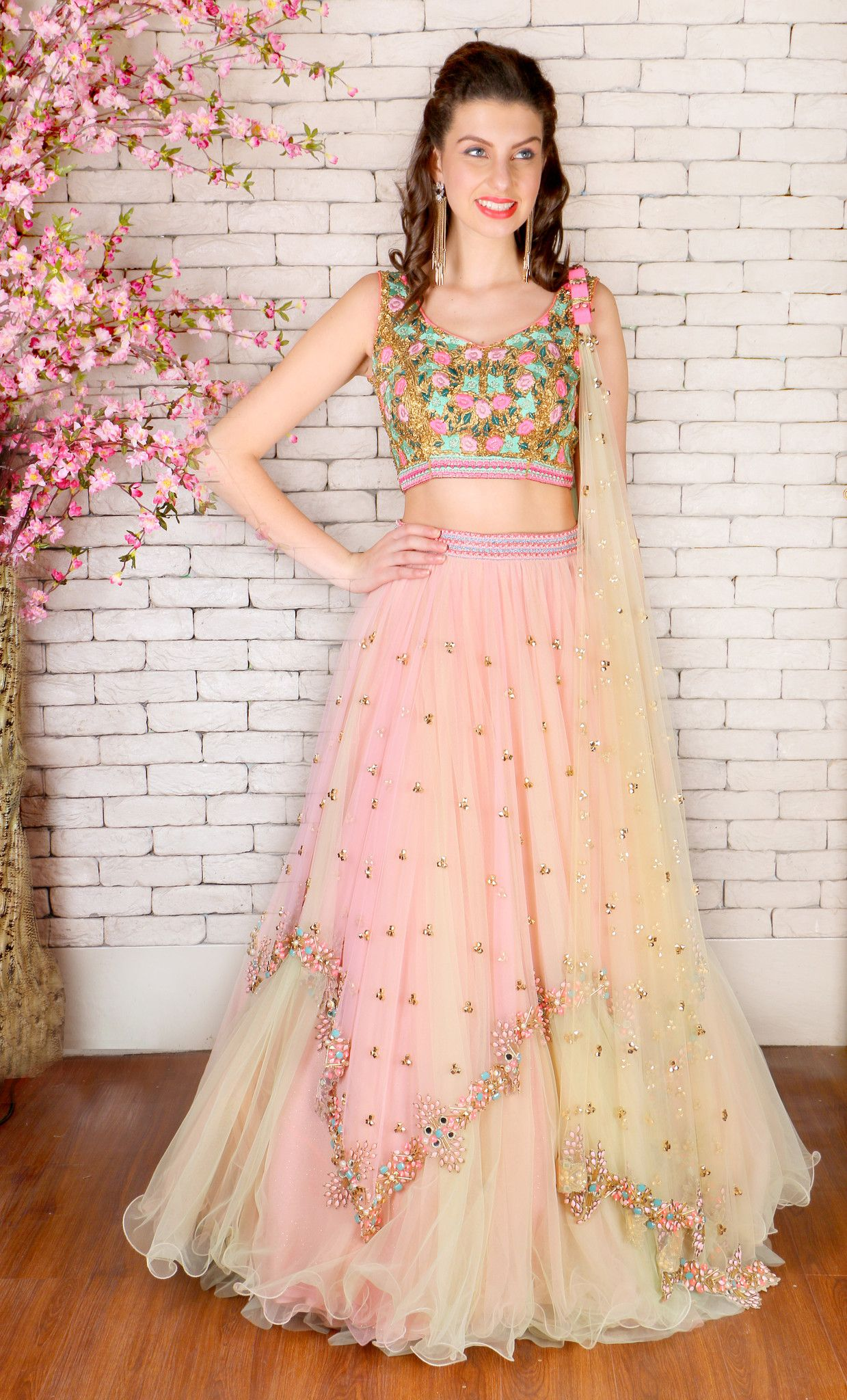 f4c2116fd3 Buy Papa Dont Preach Peach Net Embroidered Lehenga online in India at best  price.This set features a double coloured pink and mint green asymmetrical  ...