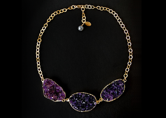 """Three amethyst druzy stone in a 16"""" vermeil gold chain necklace with 2"""" extender and labradorite gem."""