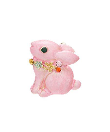 Czech Crystal & Pink Rabbit Brooch | zulily