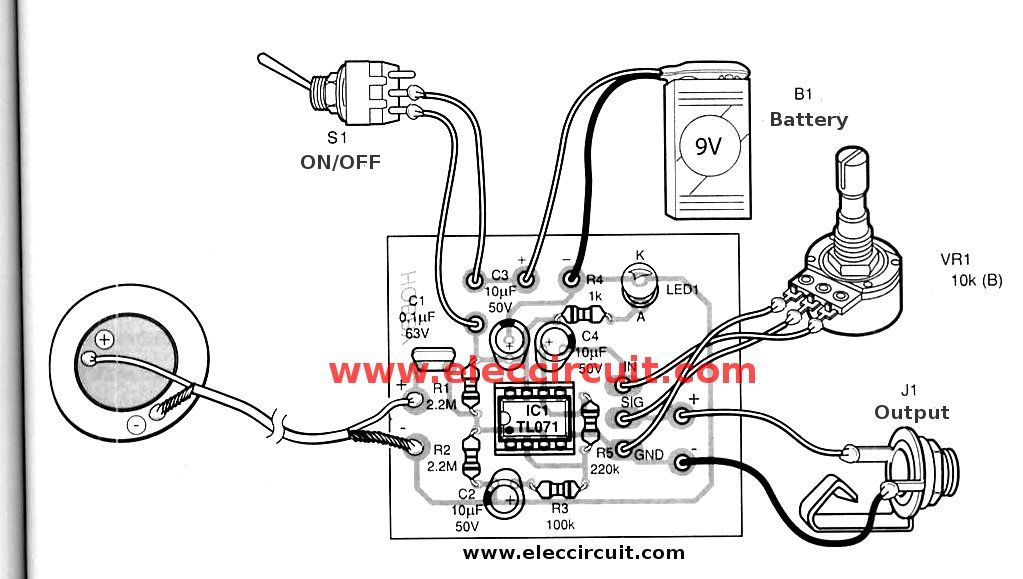 Acoustic Guitar Pickup circuit & Wireless using TL071 | ElecCircuit.com | Acoustic  guitar pickups, Guitar pickups, Bass guitar pickupsPinterest