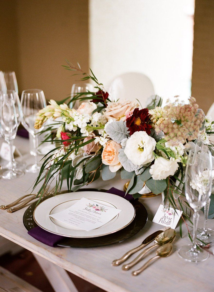Modern place setting idea - white, burgundy and blush ...