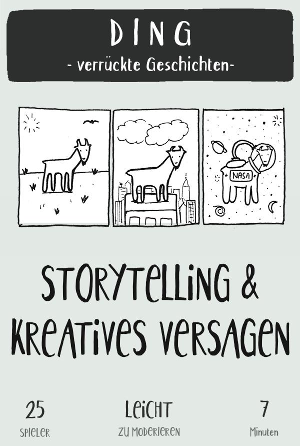 In diesem Storytelling Spiel entwickelt man in hohen Tempo neue Ideen. Man übt gleichzeitig von seinen Ideen loszulassen und mit seiner Story oft den Kurs zu ändern. Ich nutze es gerne in Innovations Workshops, da man auch da oft