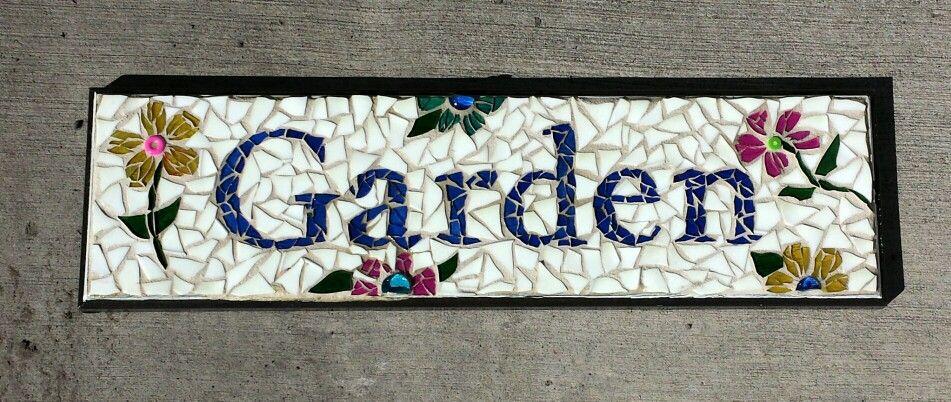 Custom Garden sign Recycled drawer, flower vase, candle holders, glass globs, dinner plates