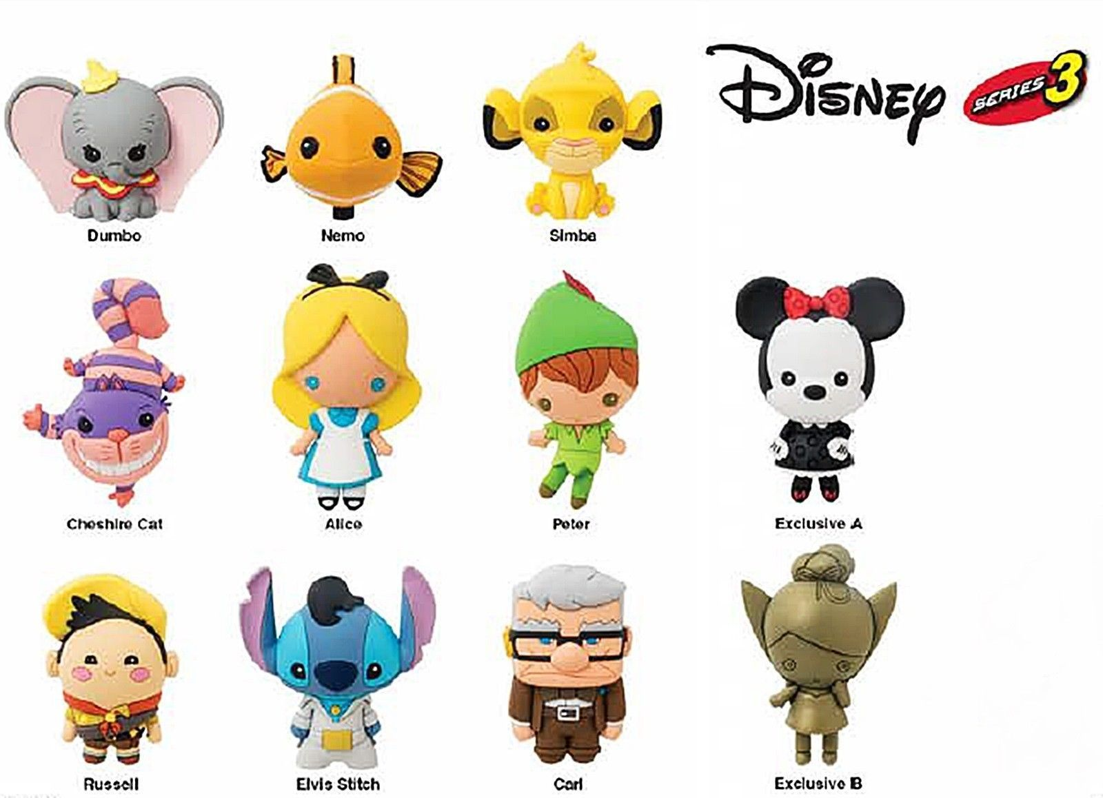 663d0ca1663 Disney Figural Keyring Blind Bags Series 3 - Included: Dumbo, Nemo, Simba,  The Cheshire Cat, Alice, Peter Pan, Minnie Mouse as Mystery Exclusive A,  Russel, ...
