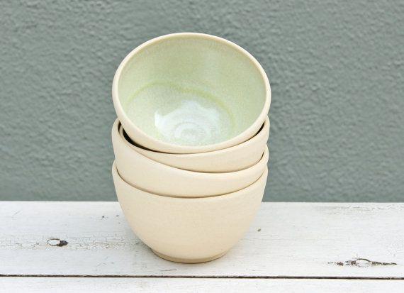 Ready to Ship, Small Pottery Bowl, Unglazed Pottery, Small Ceramic Bowl, Sea green Bowl, Mint green bowl, small clay bowl, Dessert Bowl