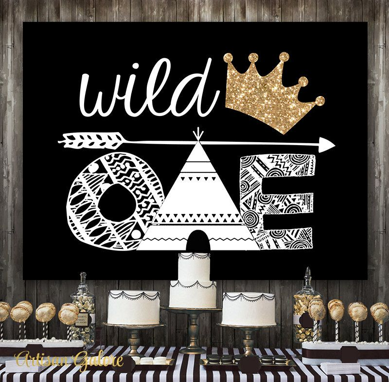 Wild One First Birthday Banner with Ribbon  Black White and Gold Woodland 1st Year Party