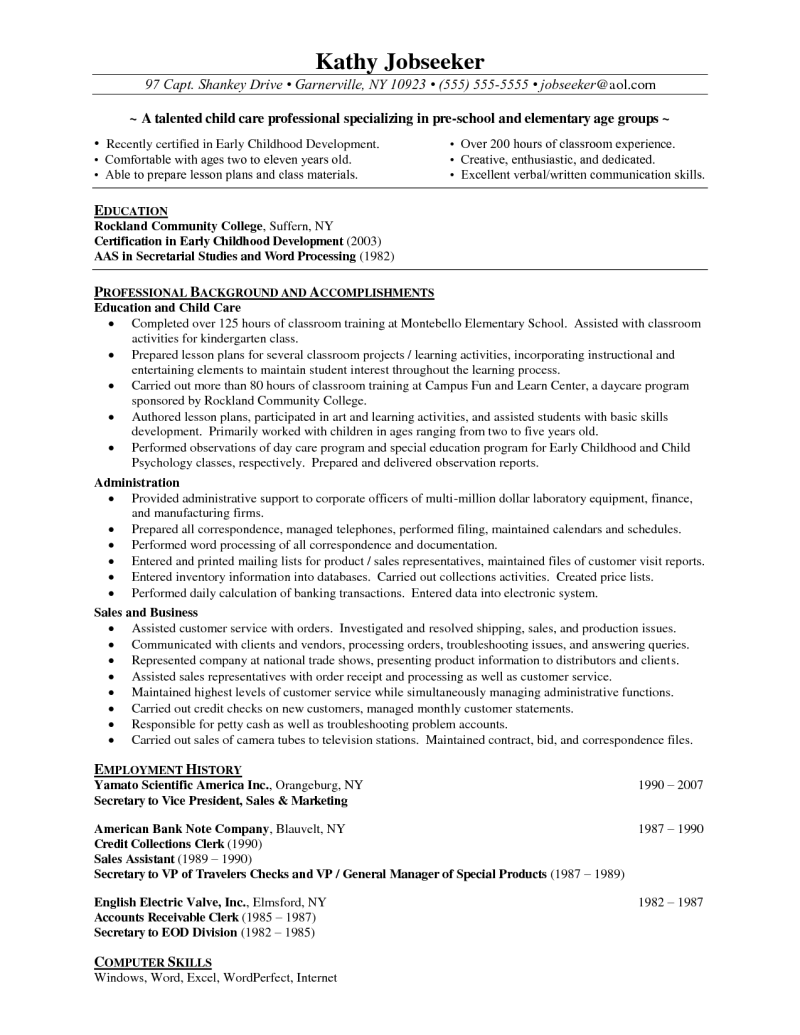 General Skills To Put On Resume Professional Preschool Resume Recentresumes  News To Go 2 .