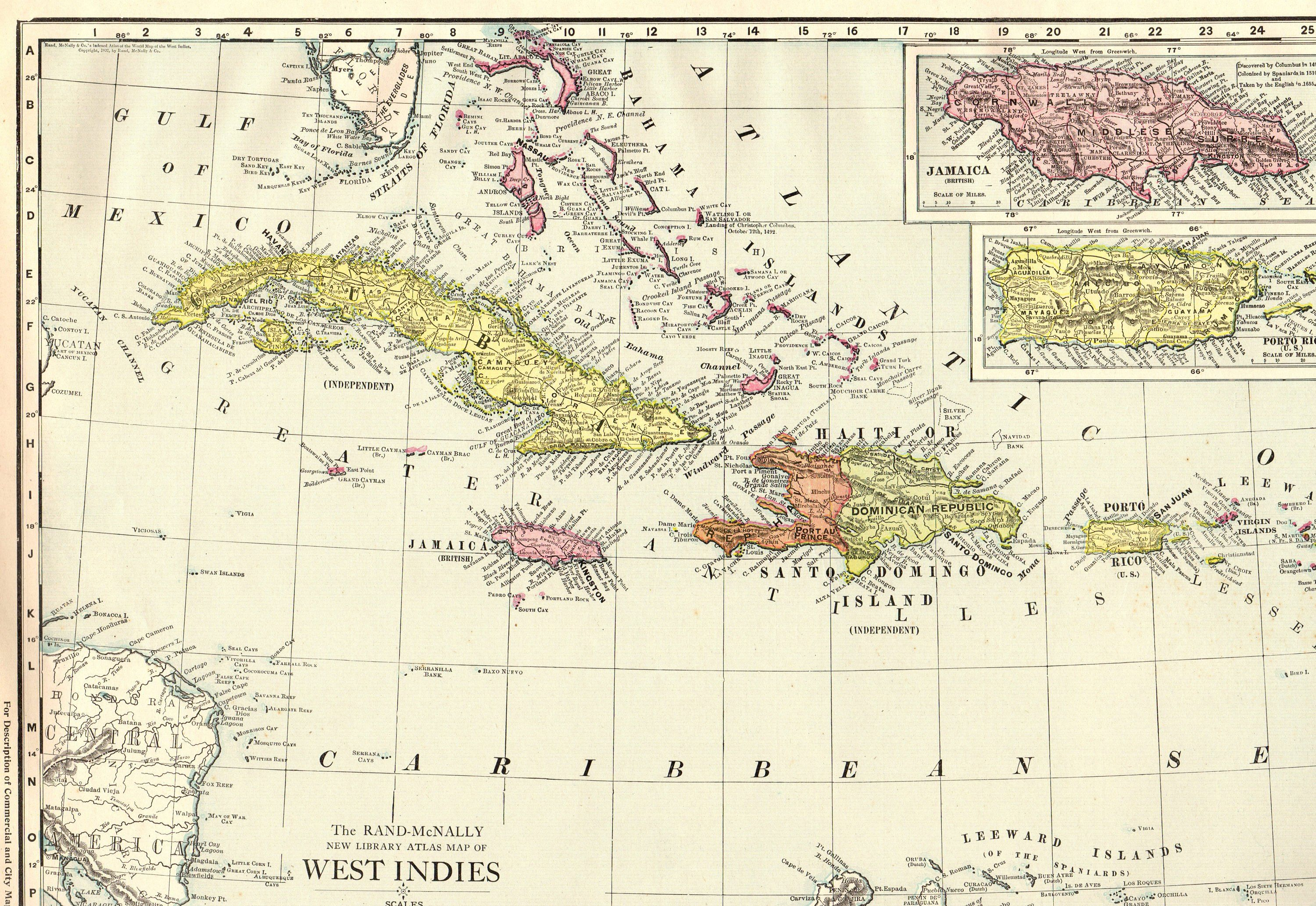 1914 Antique CARIBBEAN Map RARE Poster Size Vintage West ...