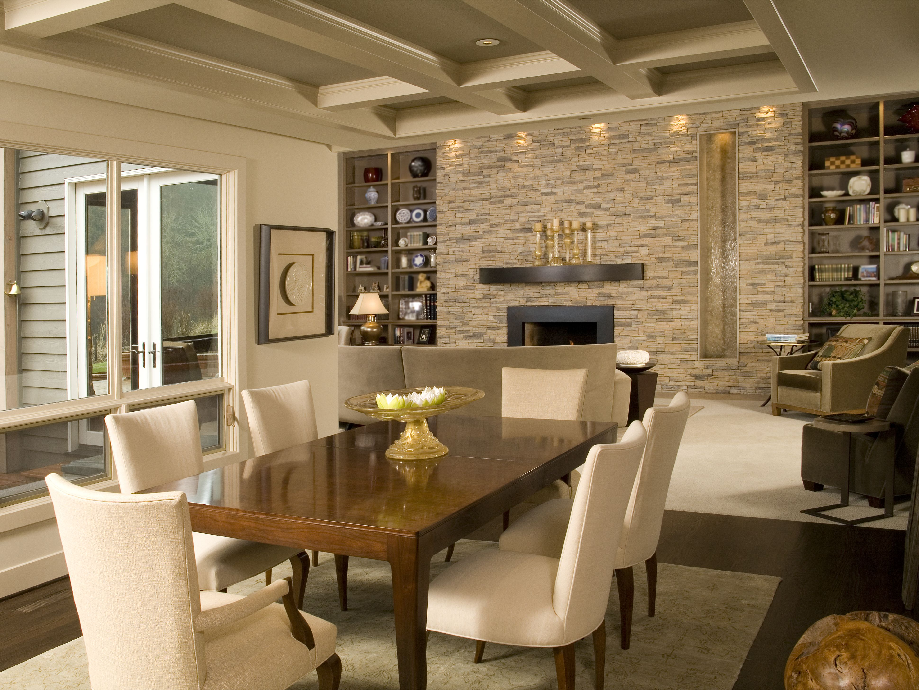 stone accent wall in living dining room