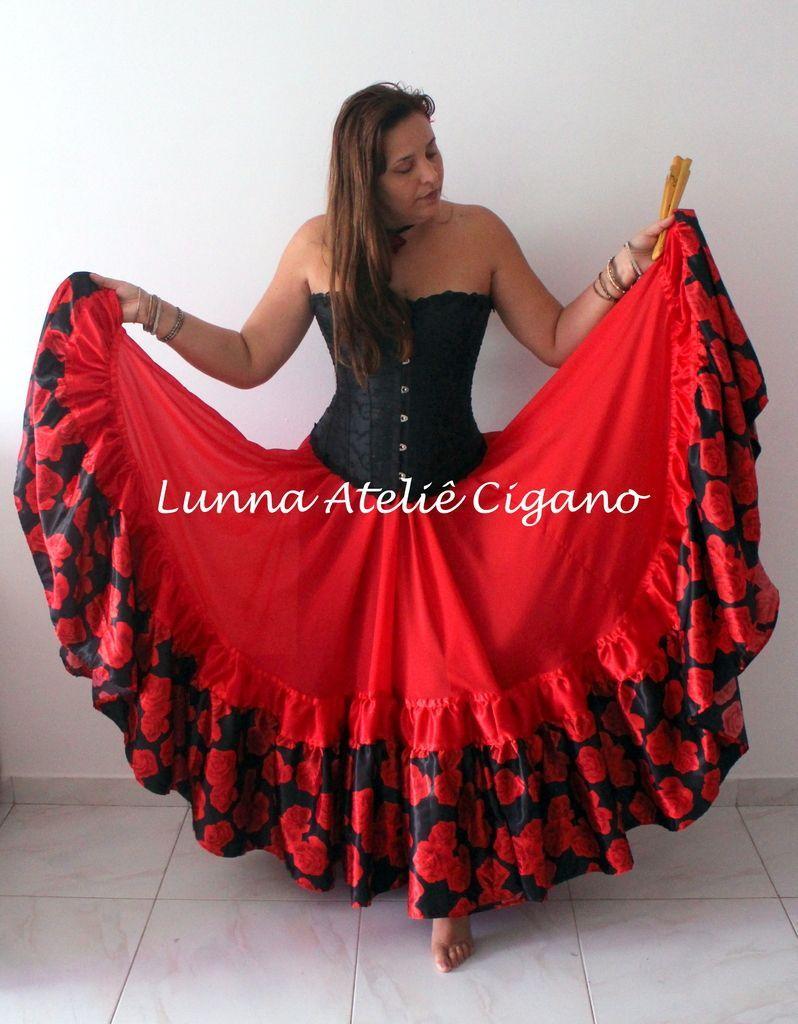 2a8fee15fb SAIA CIGANA ROSA VERMELHA - comprar online Saia De Cigana