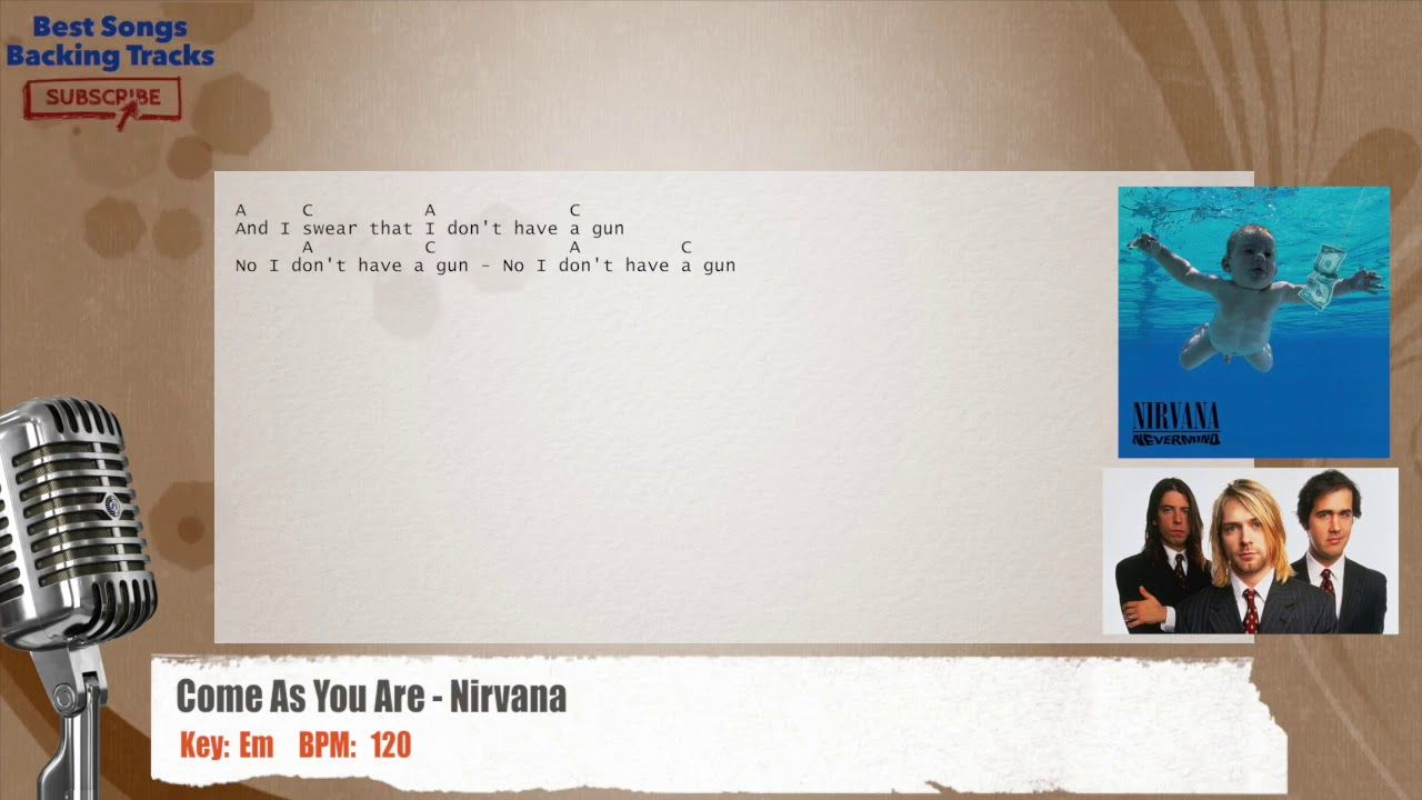Come As You Are Nirvana Vocal Backing Track With Chords And Lyrics