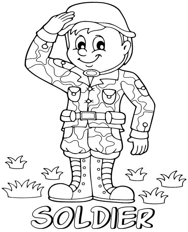Saluting Soldier Printable Coloring Page In 2020 Soldier Images Coloring Pages Printable Coloring Pages