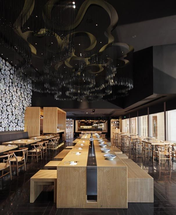 Contemporary Minimalist Restaurant Design With Wooden Table