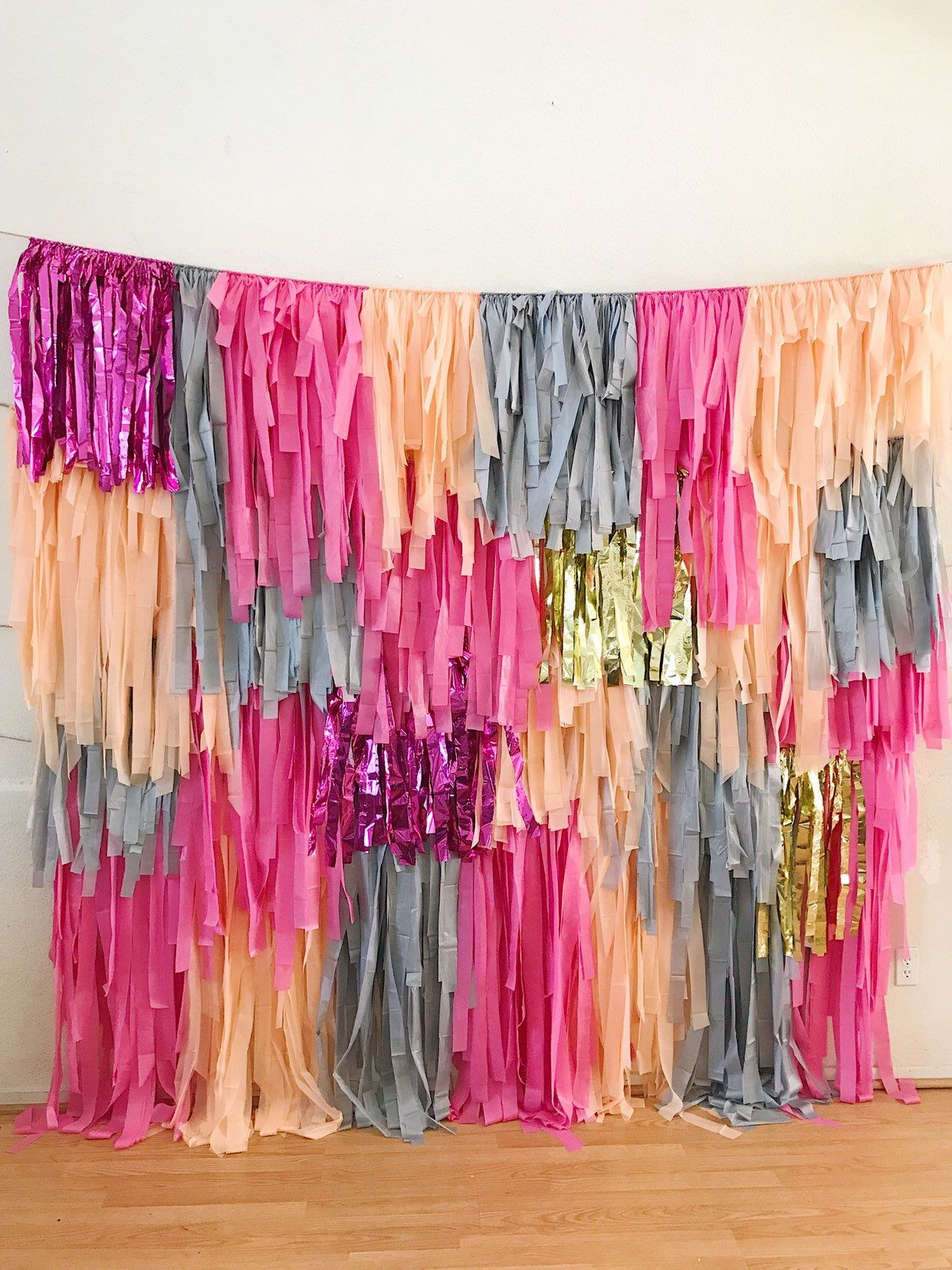 4 Piece - 8 ft wide Tablecloth Fringe Backdrop Wall, Flagtape Backdrop, Fringe Backdrop, Birthday, Party Theme, Customizable