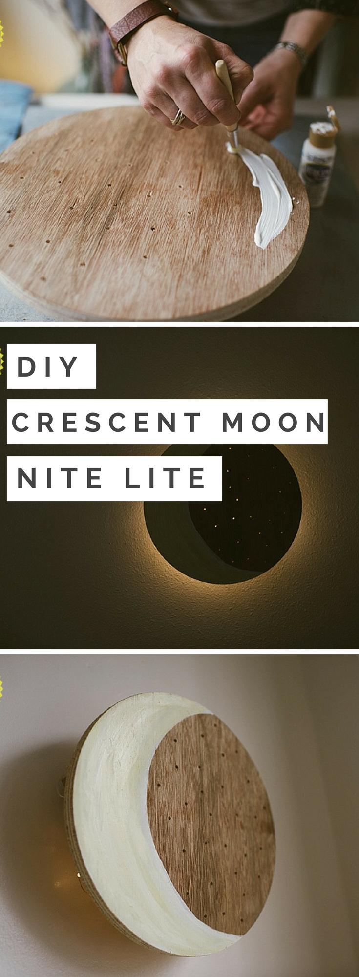 Diy Crescent Moon Night Light Diy Nursery Decor Wood Crafts Diy Nursery Crafts