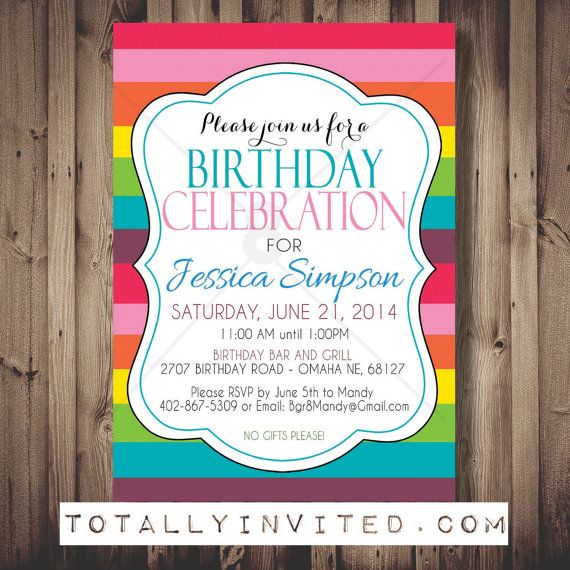 Rainbow Birthday Party Invitation. Great for Adults too! Surprise Party DIY PRINTABLE, girly invite, fun, colorful, bright, birthday