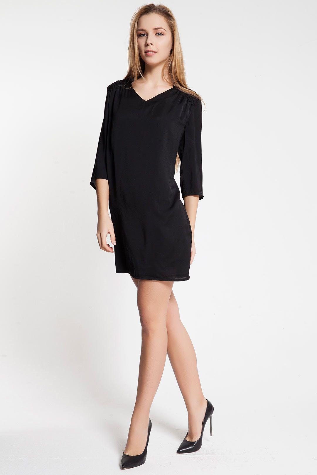 7ac47b1d2b6b7 Vero Moda HILO 3/4 SHORT DRESS Siyah Elbise :: 49.00 TL (KDV dahil ...