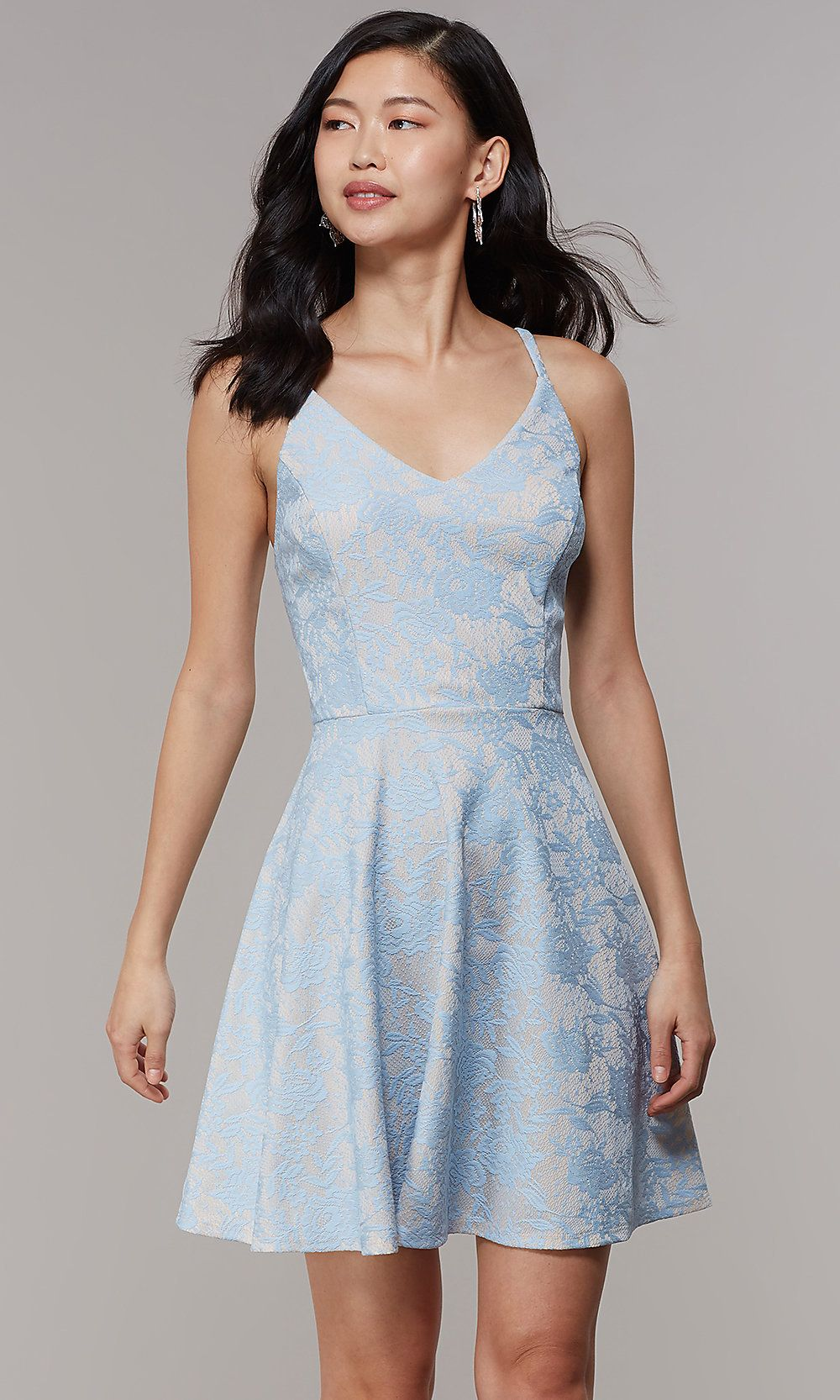f4a1d3dce00 Short Lace V-Neck A-Line Graduation Party Dress