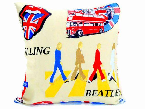 London Throw Pillow Sham U2013 Pillow Cover U2013 The Beatles Custom Cushion Cover  U2013 Rolling Accent Chair Decor U2013 Union Jack Livingroom