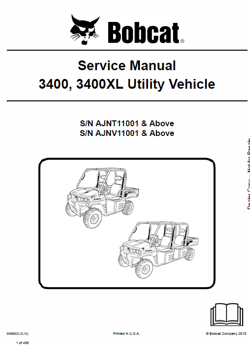 Bobcat 3400, 3400XL Utility Vehicle Schematics, Operating