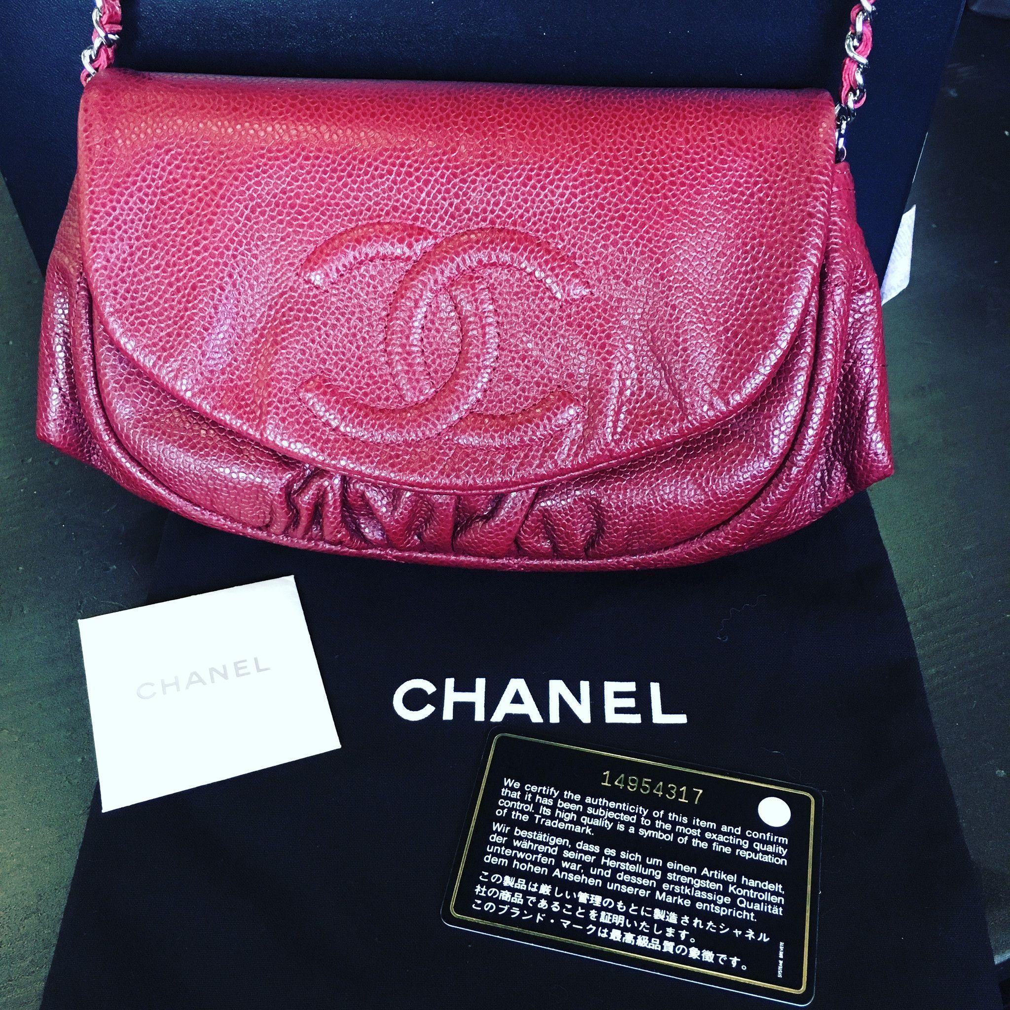 ec5eda45bff7 CHANEL Half Moon Woc Wallet On Chain Flap Caviar Red Cross Body Handbag   Chanelhandbags