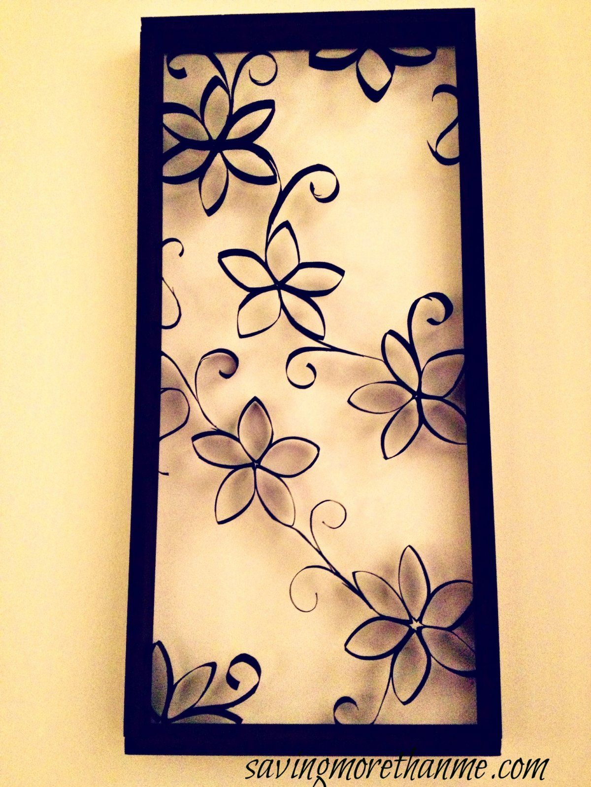 Swirl Paper Strip Unique DIY Swirly Black Flowers Wall Decoration