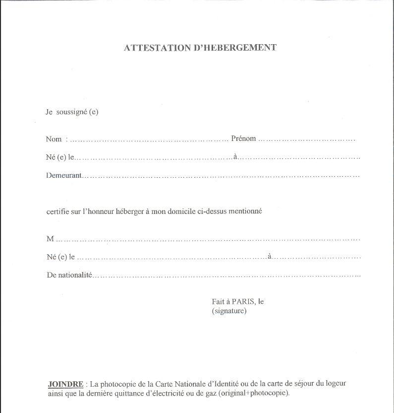 Certificat D Hebergement Pour Demande De Visa Modele Attestation