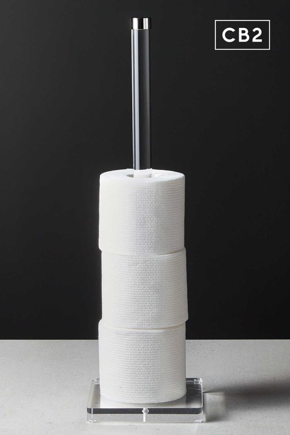 Acrylic And Polished Nickel Toilet Paper Storage Tower Reviews Cb2 Toilet Paper Storage Storage Towers Paper Storage