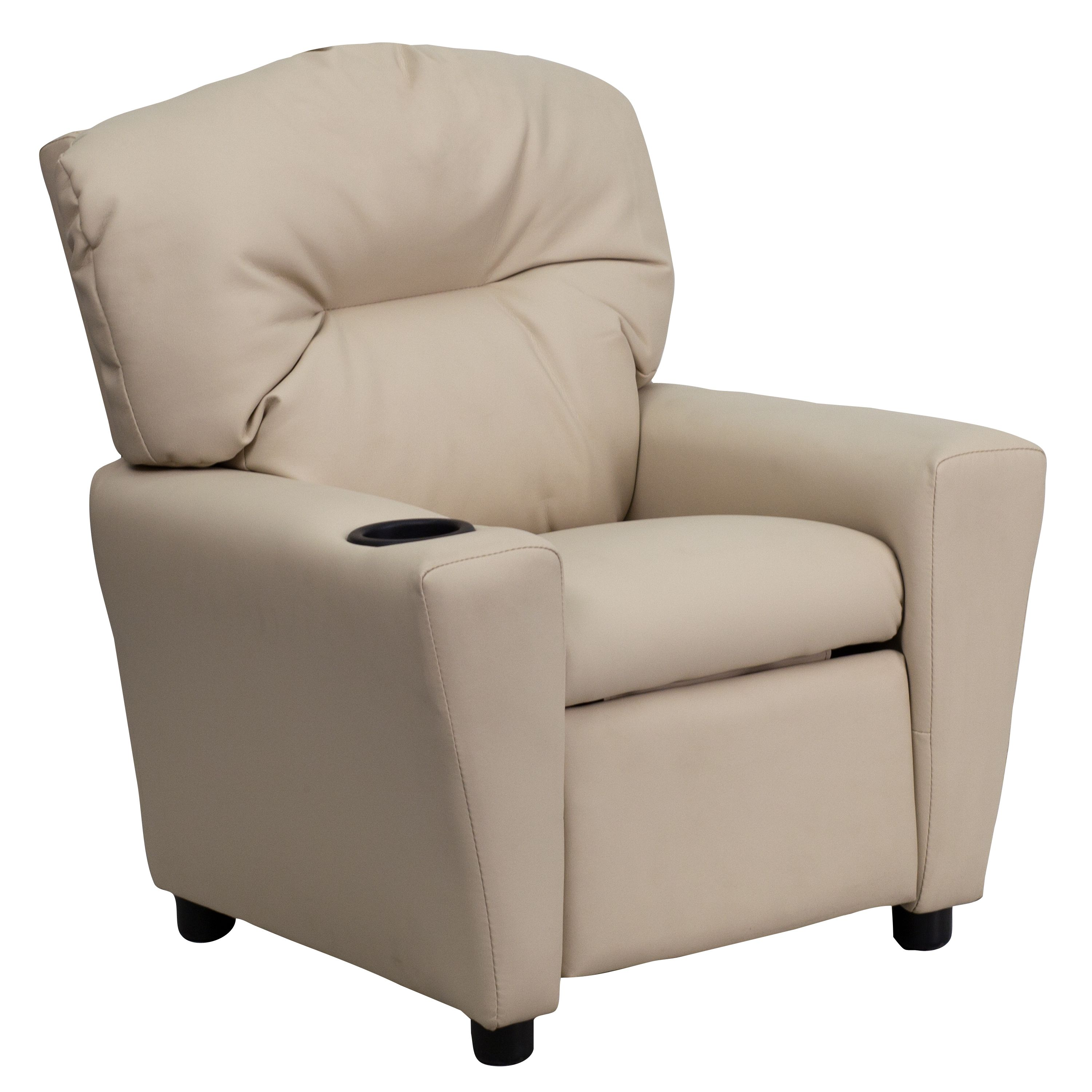 Younger Kids Would Love This. Flash Furniture Contemporary Beige Vinyl Kids  Recliner With Cup Holder [Misc.